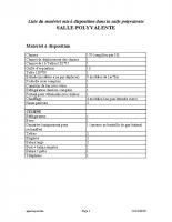 Liste du materiel mis à disposition dans la salle polyvalente